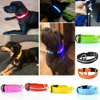 Nylon LED Pet Cat Dog Collar Night Safety Leash Flashing Glow Luminous Necklaces