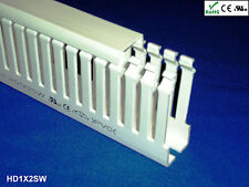 """New 1""""x2""""x2m Narrow Finger Open Slot Wiring Duct/Cable Raceway with Cover, White"""