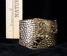 Goldtone Stretch Cuff Bracelet  Cut and Textured Style Jewelry