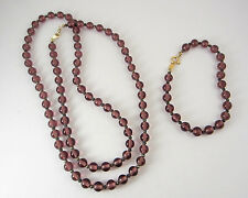 Demi Set Purple Glass Beaded Necklace & Bracelet Vintage Gold-tone 1950's
