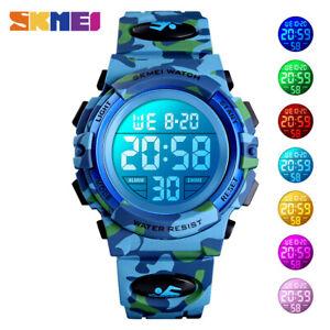 SKMEI Fashion Kids Boy Sport Watch Colorful LED Camouflage 50m Waterproof 1548