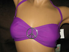 Eco Peace by Aqua Green Misses L Purple Swimsuit Top Padded Strapless Bandeau