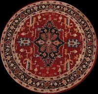 Red Round Floral Traditional Oriental Area Rug Hand-Tufted Wool 5x5 NEW Carpet