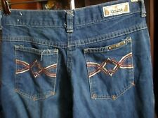 28x30 FIT Vtg 70's Mens BOOTCUT FLARE embroidered DISCO POCKET RAW DENIM JEANS