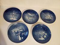 Bing and Grondahl Copenhagen B&G Blue Christmas Plates Lot of 5, 1973 - 1977