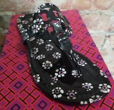 bcfbabc8666ce3 Tory Burch Patent Leather Miller Sandal Black Stamped Floral Pink 8