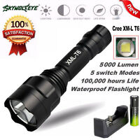 5000Lm C8 CREE XM-L T6 LED  Flashlight 5 Mode Torch Tactical Light+18650+Charger
