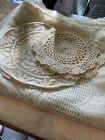 Lot+2+Lace+Tablecloths+2+Crochet+Lace+Doilies+Not+Vintage+Home+Or+Craft+Proj