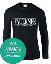 Nom de famille Hommes Manches Longues T-Shirt 100% Tout Nom Personnalisé