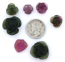39.40 SEVEN Assorted Natural Carved Tourmaline Flower Leaf Gem Gemstone ebs1204