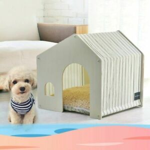Detachable Wooden House Cat Dog Washable Breathable Indoor Tent Pets Supplies
