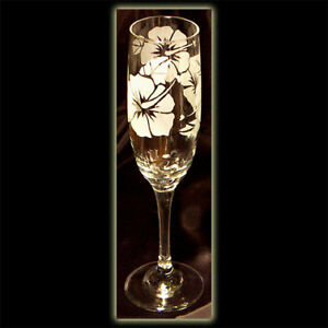 2 Hawaii Tropical Hibiscus Flower Art Champagne Flutes