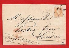 N° 23 - SUR LETTRE MANUSCRITE - ÉTOILE- DESTINATION LONDRES - 09/02/1868