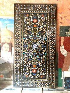 """96""""x48"""" Black Marble Dining Table Top Handmade Pietra Dura Decor Garden"""