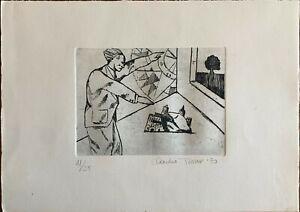 Claudio Tesser incisione acquaforte Figura B  35x25 firmata numerata  '90