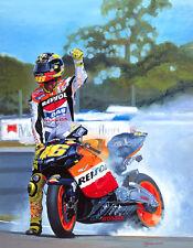 Valentino Rossi Repsol Honda Motorcycle Moto GP Racing Art Painting Print