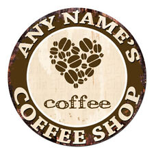 CP-0085 ANY NAME'S COFFEE SHOP Custom Personalized Chic Tin Sign Decor Gift idea