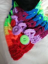Braided Cowl Handmade Crochet With Buttons , neck scarf, Pride, rainbow lgbtq