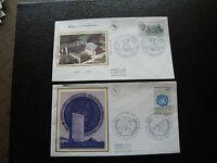 FRANCE - 2 enveloppes 1er jour 1985 (abbaye landevennec/onu) (cy88) french