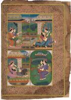 Indian Miniature Painting Mughal Love Scene - Gouache & Stone Color Art On Paper