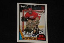 GLEN HANLON 1987-88 TOPPS SIGNED AUTOGRAPHED CARD #89 DETROIT RED WINGS