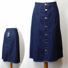 New M&S Long A-LINE Button Front DENIM SKIRT ~ Size 8 ~ INDIGO