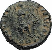AELIA FLACILLA Theodosius I Wife 383AD Ancient Roman Coin VICTORY CHI-RHO i67473