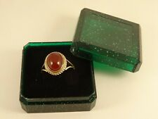Ladies Mens 9ct Gold CARNELIAN Solitaire RING Small Sz I  Hm Gift Exc Con 785n
