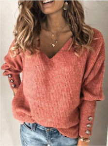 Womens Autumn Basic Knitted Ladies Tee Loose Pullover Jumper Sequins Blouse Tops