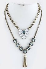 Beautiful Rhinestone Accented Multi Layered Necklace & Earring Set Blues, White,