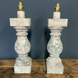 Antique Balustrade Lamp Reclaimed Wooden Baluster Lamps Great Patina Wood Paint