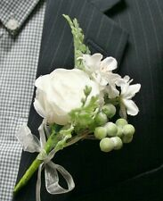 White Flowers Boutonniere, Wedding Accessories, Prom