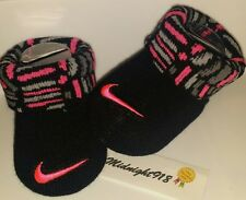 NEW NIKE AIR BABY GIRL NEWBORN INFANT BOOTIES 0-6M. BLACK, PINK AND GREY.