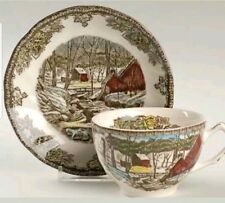 Vintage Johnson Brothers Friendly Village Tea Cup & Saucer The Ice House England