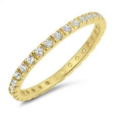 Yellow Gold Plated Cubic Zirconia Eternity Band .925 Sterling Silver Ring