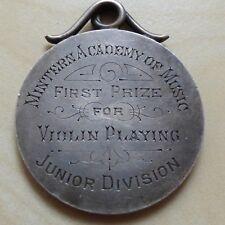 1st Prize 1896 Violin Playing Won by M. Foyle Silver Medal Mintern (myrefn12912)