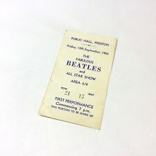 Rare Beatles Concert Ticket Preston Public Hall 13th September 1963, Very Nice!