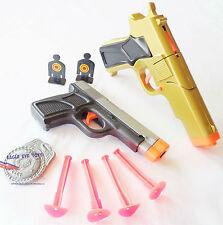 2x Toy Guns Military Detective Gold 9MM Pistol Cap Gun & Grey 9MM Dart Gun Set