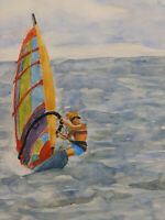 Circa 1970's_ 'WINDSURFER' Norm Taylor, Vintage Watercolor Painting Mid century