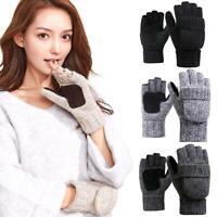 Men Women Winter Warm Fliptop Gloves Fingerless Convertible Casual Knit Mittens