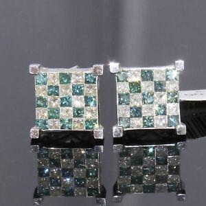 NYJEWEL JPM 14k Gold 3ct Blue & White Diamond Square Earrings