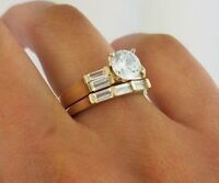 1.5 CT Diamond Engagement Ring Wedding Band Set 14K Yellow Gold Round Baguette