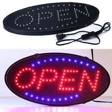 2x Red Blue Led Neon Light Oval Open With Motion Animation On / Off Switch Sign