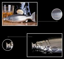 Stainless Steel Fish Flask 4oz 118ml Nip Fishing Fly Gift Trout Salmon Bass FS!