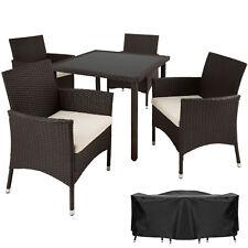 Ensemble Salon de jardin en résine tressée poly rotin table chaises set 4+1