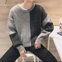 Mens Mixed Color Loose Fit Sweater Casual Crewneck Tops Cotton Blend Autumn Size