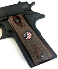 1911 fits Colt Rock Island & Clone 000038Cb s Rosewood Grips Us Flag Medallion #1A
