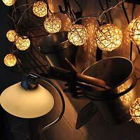 20 LED Battery Operated Wicker Rattan Balls White Fairy Lights Christmas Decor