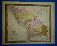 1849 S A Mitchell New Universal Atlas Map ~ PERU - BOLIVIA ~ Old Authentic