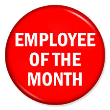 """Employee of the Month 25mm 1"""" Pin Badge Button Novelty Funny Joke Work Job"""